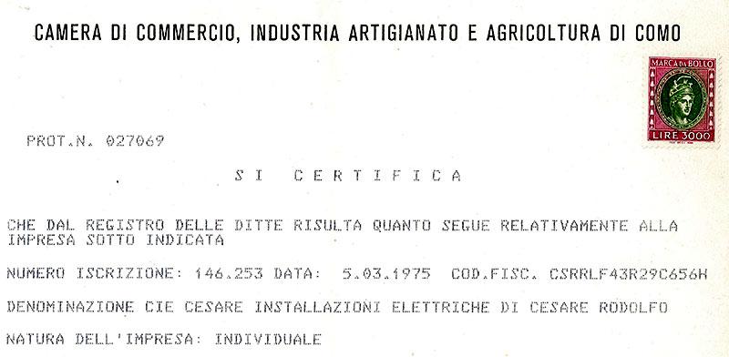 Il documento di iscrizione alla camera di commercio