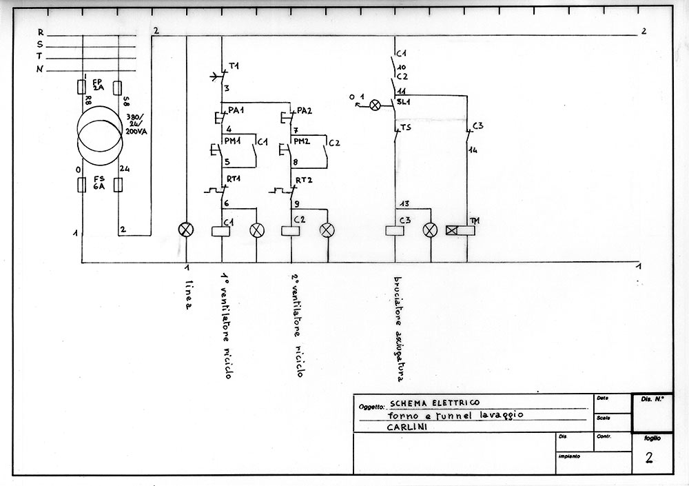 The first pages of a wiring diagram for a washing tunnel.